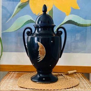 Vintage Celestial Moon Stars Urn Vase